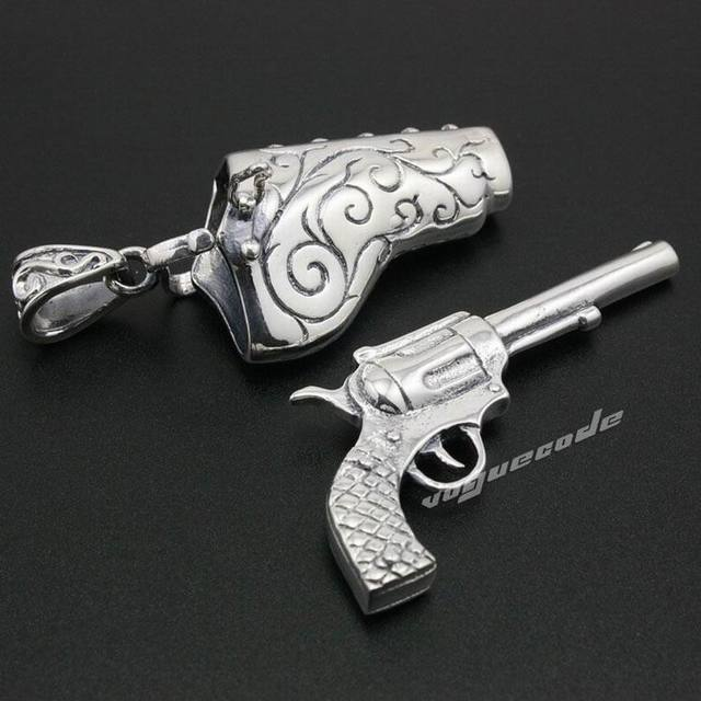 925 Sterling Silver Civil War Pistol Revolver Gun Mens Biker Rock Punk Pendant 8A006