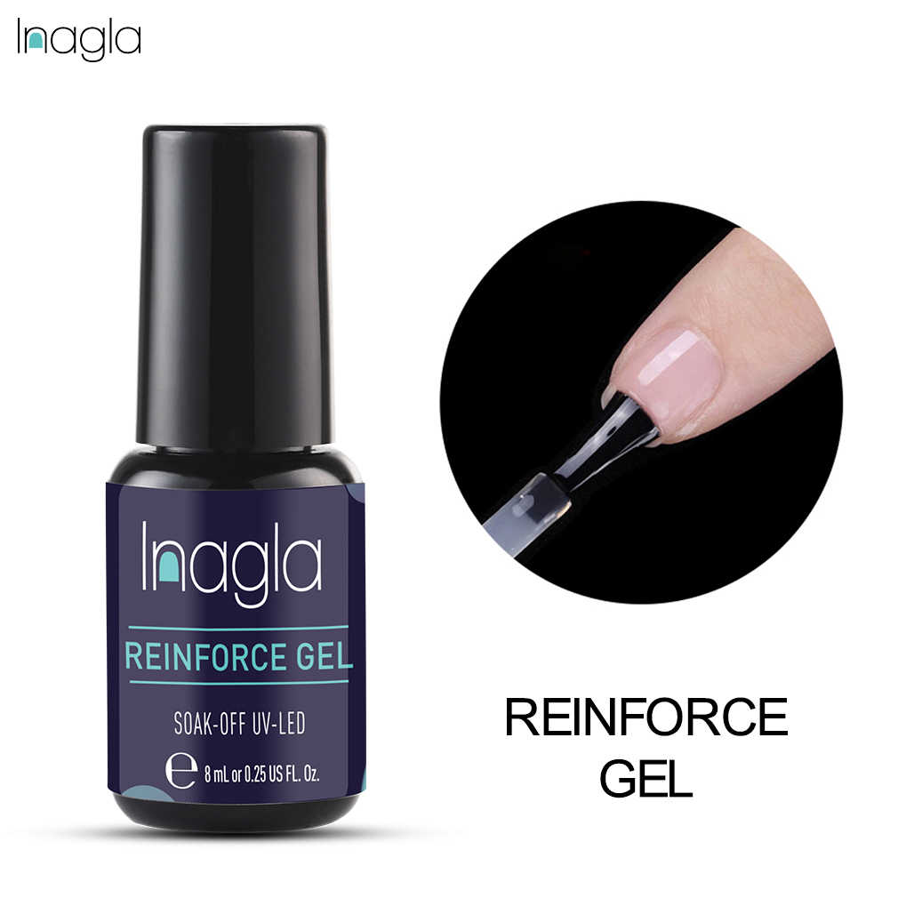 Inagla 8ML Versterking Gel Base Top Coat UV Nagel Gel Polish Beschermen Versterken Led Gel Nail Clear Gel Versterken nagellak