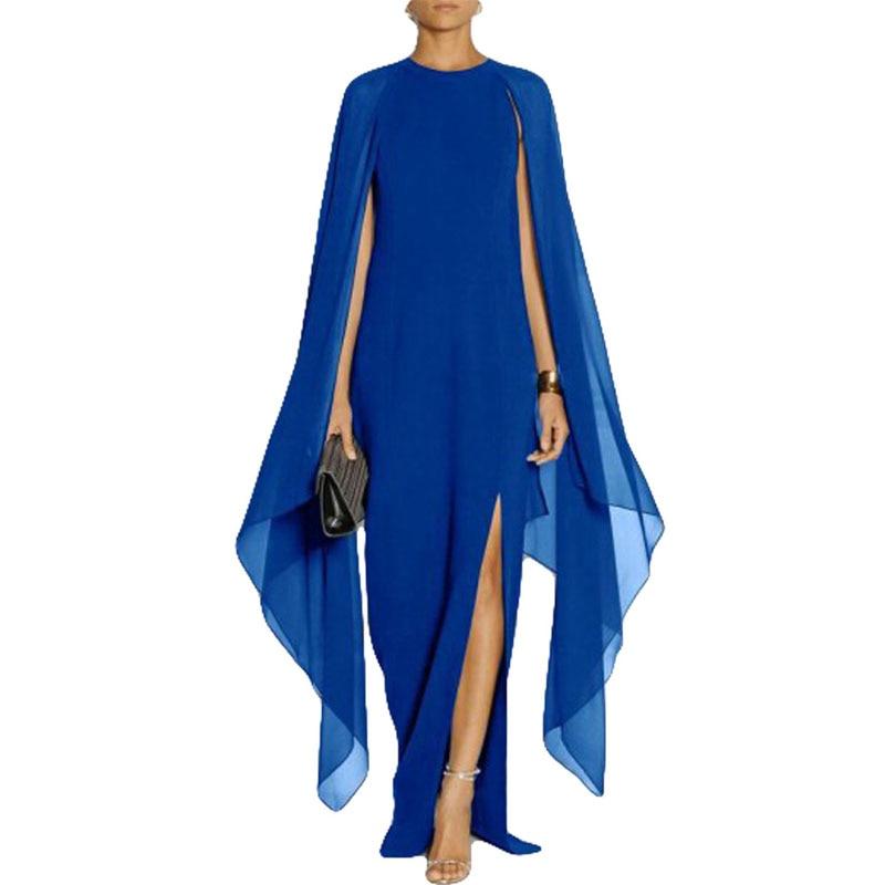 Black/Blue/Red/Purple New Design Long Batwing Sleeve Elegant Ladies Casual Party Wear Side Split Chiffon Maxi Dress Wholesale