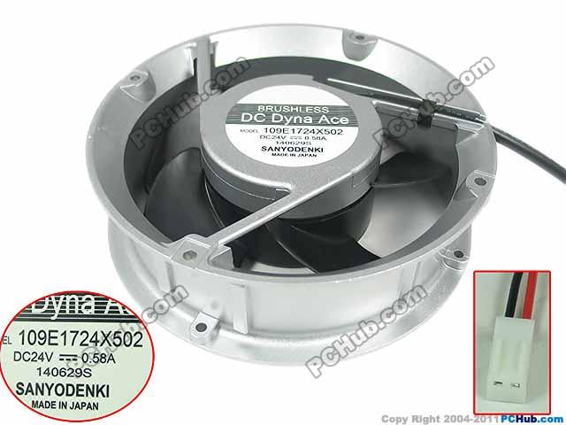Sanyo 109E1724X502 DC 24V 0.58A 172X172X51mm Server Round Fan ebmpapst 6224 n 17hau 6224n 17hau dc 24v 1 25a 172x172x51mm server round fan
