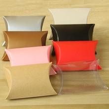 50 Pcs/Lot New craft paper Pillow Shape Wedding Favor Gift Boxes pie Party Box bags Home Favors Bag