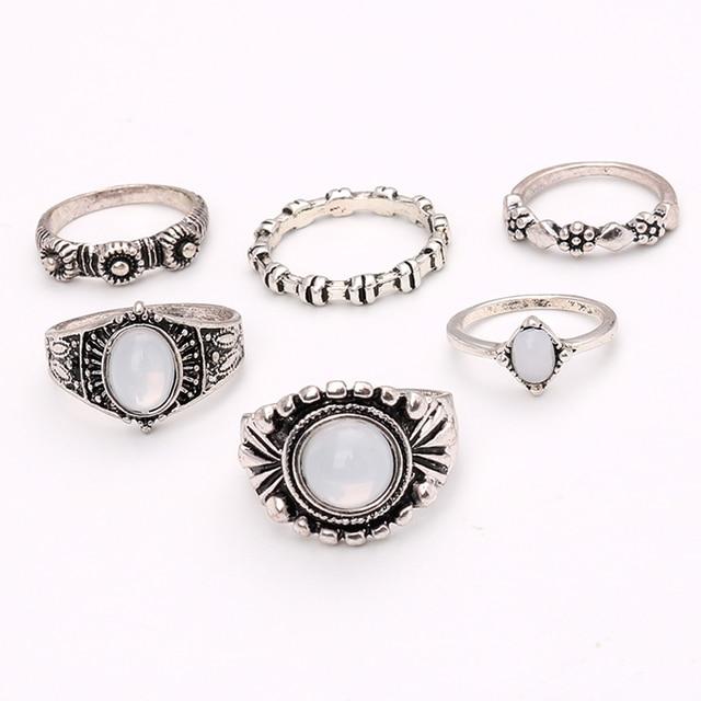 6PC SATZES Boho Vintage Ringe Set Opal Stein Ethnische Carving ...