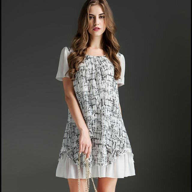 ec9d94b994c0f9 Round neck short-sleeved Stitching chiffon dress Loose Loose print dresses  Plus size L-5XL summer dresses