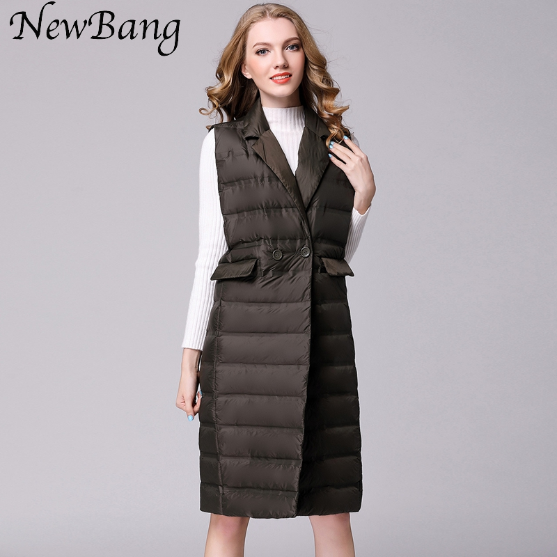 NewBang Brand Women s Long Vest Ultra Light Down Vests Women Female Down Coat Long Sleeveless
