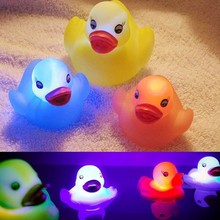 Kawaii Rubber Duck  Light Cute Children Baby BathToys Float Water Swimming Play Mini Educational For Kids Random Color 1PC