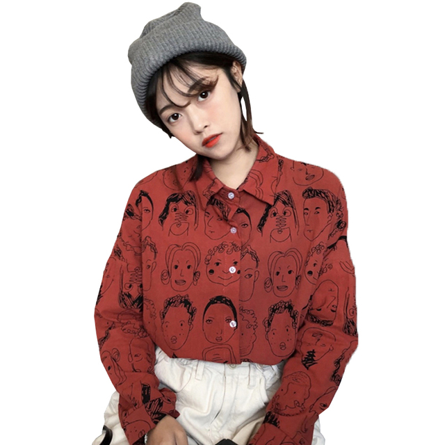 2018 Korean Street Fashion Women Shirts Japanese Harajuku Vintage Cartoon Print Leisure Blouses Funny Graphic Loose Female Tops 1