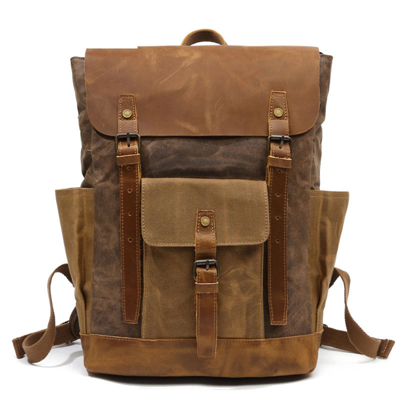 Vintage Waxed Canvas Men Backpack Large capacity Military Oiled Leather School Backpack Male Rucksack Waterproof Travel Bag edgy trendy casual canvas backpack men large capacity simple backpack fashion hook buckle travel bag durable rucksack