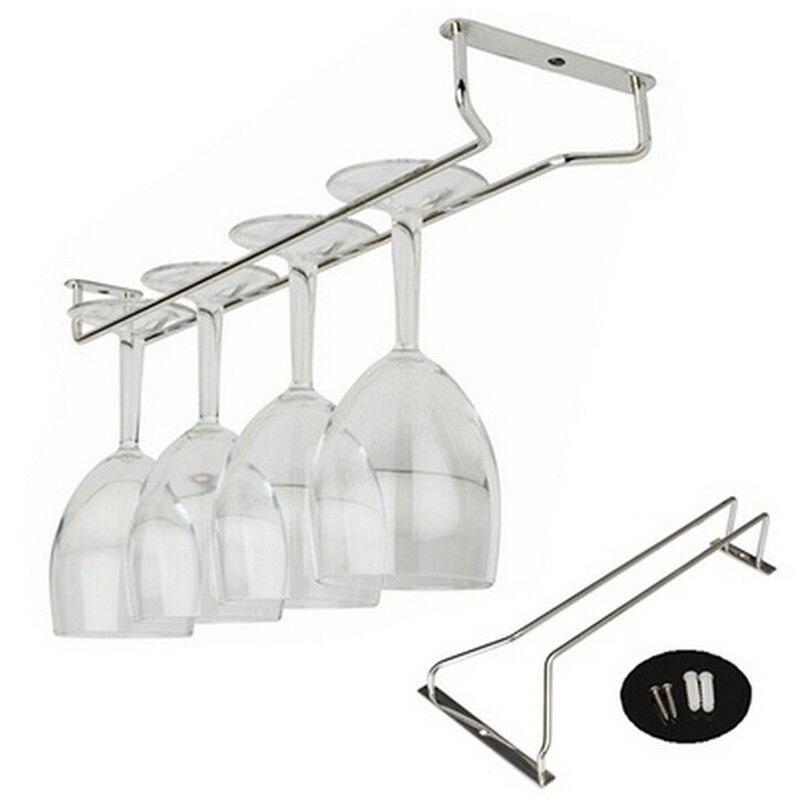 6 Hooks Cup Holder Hang Kitchen Cabinet Under Shelf: Wine Cup Glass Holder Hanging Drinking Glasses Stemware
