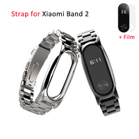 Mijobs Metal Wrist Strap For Original Xiaomi Band 2 Smart Bracelet Wristbands Screwless Stainless Steel Wrist