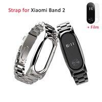 Mijobs Metal Wrist Strap For Original Xiaomi Band 2 Smart Bracelet Wristbands Screwless Stainless Steel Wrist