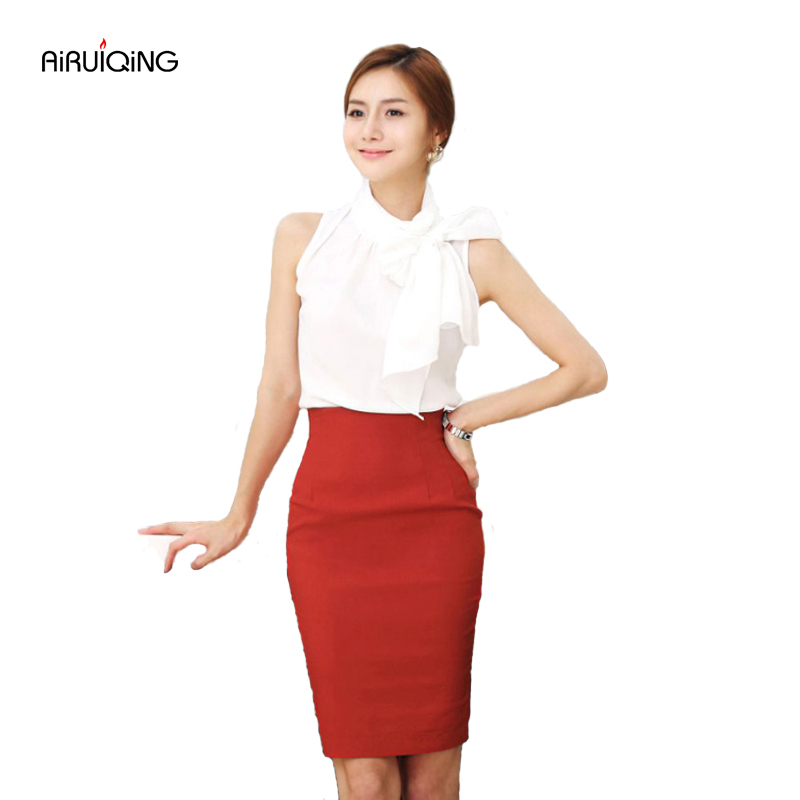 c40f5196a Pencil Skirt Women 2019 Elastic High Waist Slim Hips Red Black Formal Saias  Feminino Lady OL Office Bodycon Skirts Plus Size