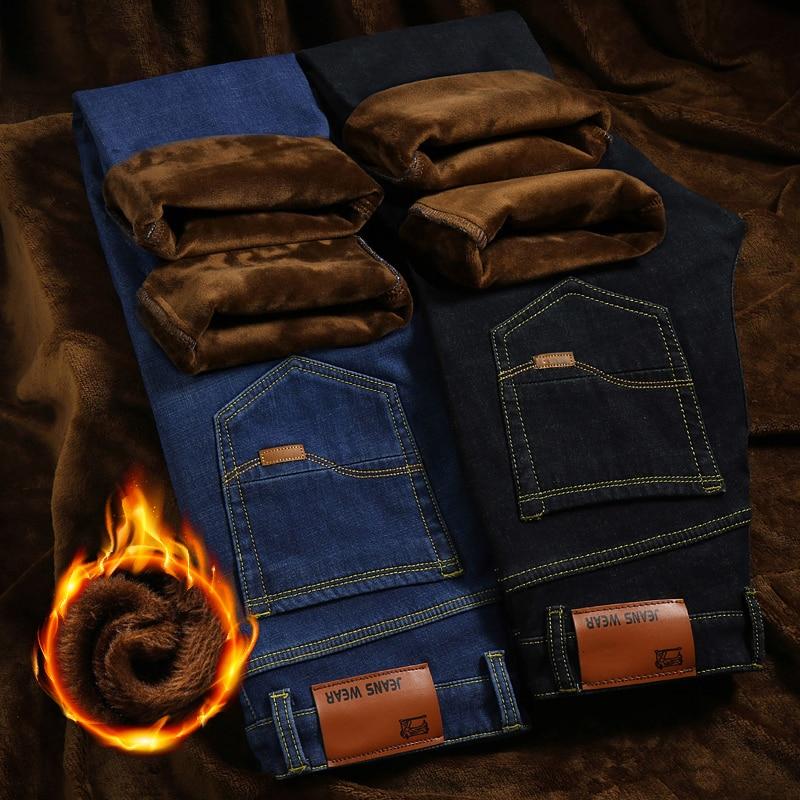 men clothes 2018 Warm Jeans homme High Quality Winter Jeans mens flocking warm skinny pants men Slim black jeans stretch denim