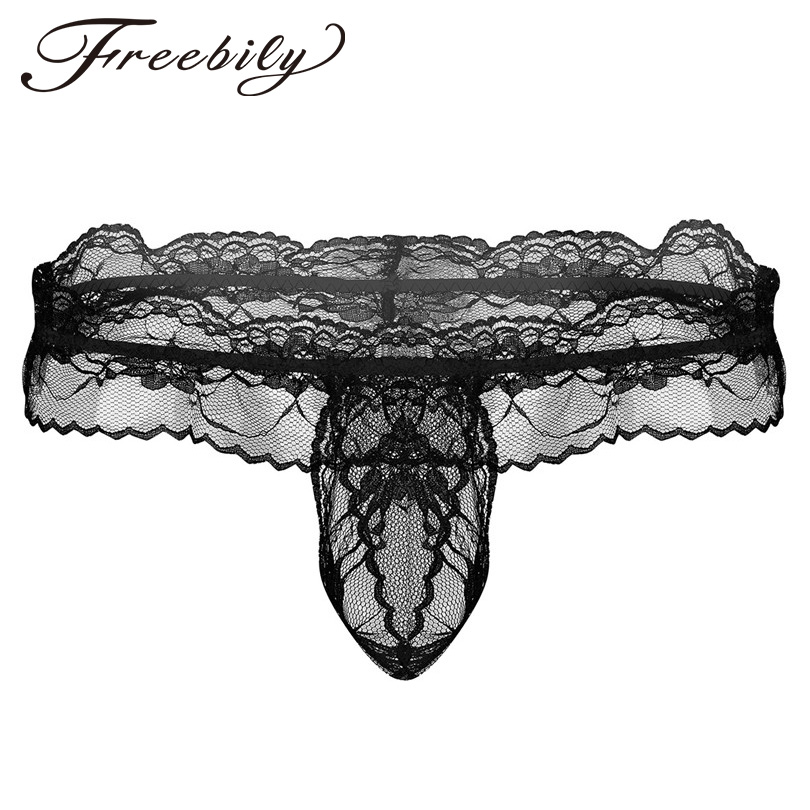Buy Mens Low Rise Lingerie Sissy Briefs Panties Ruffle Lace Floral Crotchless Open Butt Hollow Briefs Underwear Penis Hole