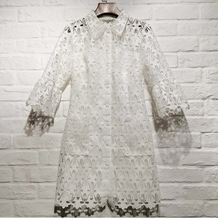 France style elegant hollow out lace dress 2019 spring summer white shirt G136