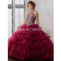Elegant 2019 Quinceanera Dress Ball Gown Halter Neck Beaded Rhinestones Long Sweet 16 Years Party Gowns Vestido De 15 Anos