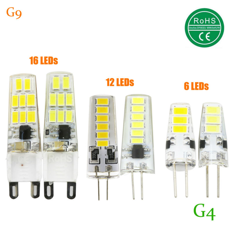 2018 new LED Bulb SMD 5733 LED G4 G9 6 12 16 LEDs lamp 2W 3W 5W Corn Light AC220V DC 12V 360 Degree Replace Halogen Lamp t10 2 5w 250lm 560 590nm smd 5050 13 leds yellow led car instrument light door lamp trunk lamp dc 12v