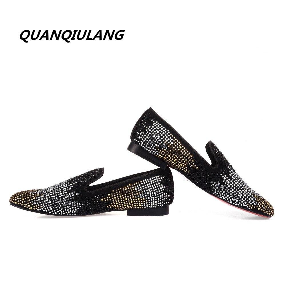 2017 جديد مصمم أحذية ذهبي اللون الأحمر الماس أحذية الماس الجلود تصميم الأزياء الرجال الاحذية 38 47-في أحذية مطاطية رجالي من أحذية على  مجموعة 2