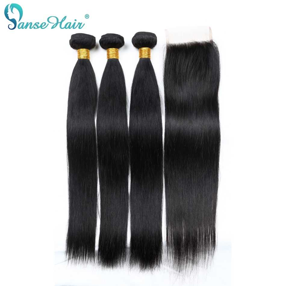 Panse Hair Malaysian Hair Bundles 3 Bundles With One Lace Closure 4X4 Straight Human Hair Weaving Non Remy