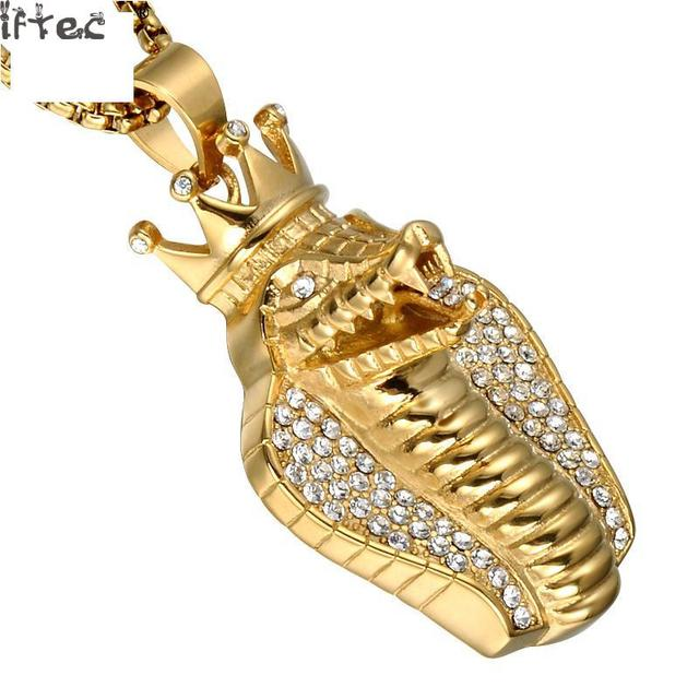 Hip hop iced out bling full crystal big cobra snake men pendants hip hop iced out bling full crystal big cobra snake men pendants necklaces gold color stainless aloadofball Image collections