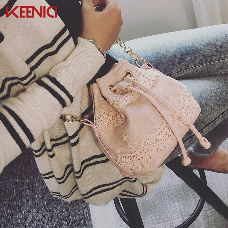 High Quality pu leather Chains Bucket Bag Women Lace Shoulder Bag Womens Messenger Bags Emboridery Small Crossbody Bags Handbags gzl high grade quality pu leather women handbags bucket bag female messenger bags ladies shoulder crossbody bag bolsas hb0037