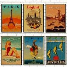 SAN FRANCISCO/París/CHICAGO/Inglaterra/WAIKIKI/carteles de viaje vintage. Decoración Para sala de estar. Decoración de dormitorio