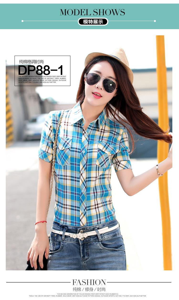 HTB1cgjCJFXXXXcuaXXXq6xXFXXX3 - New 2017 Summer Style Plaid Print Short Sleeve Shirts Women
