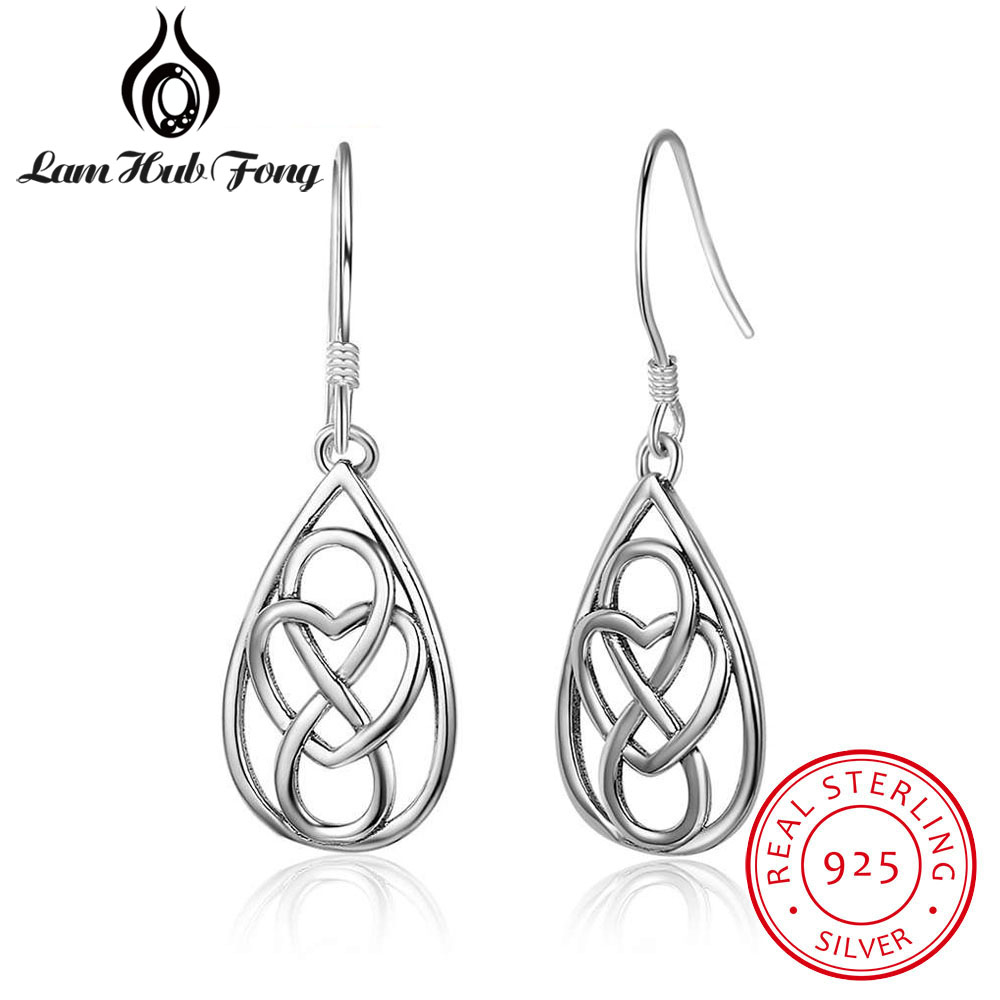 купить 2018 Simple 100% 925 Sterling Silver Hollow Out Earrings Water Drop Earrings with Heart & Endless Symbols Dangle Earrings по цене 543.3 рублей