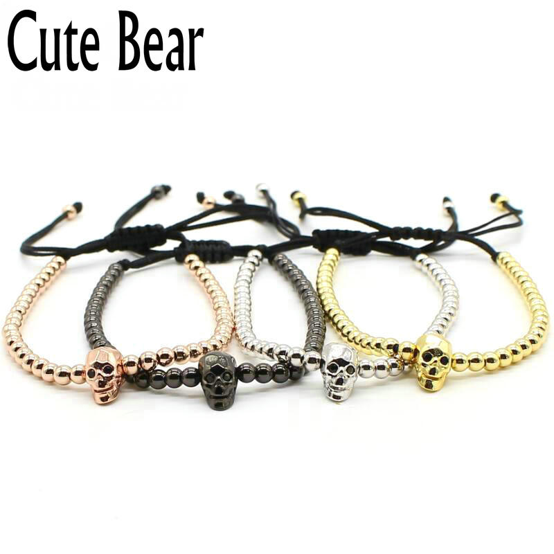 Cute Bear Brand Skull Bracelet Trendy 4mm Copper Beads Skeleton Braided Macrame Bracelets Men Women Bracelet Jewelry Wholesale
