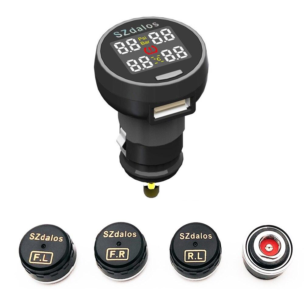 2018 mais novo szdalos tp200 tpms sem fio sistema de monitor pressão dos pneus tmps com carregador cigarro sensor externo