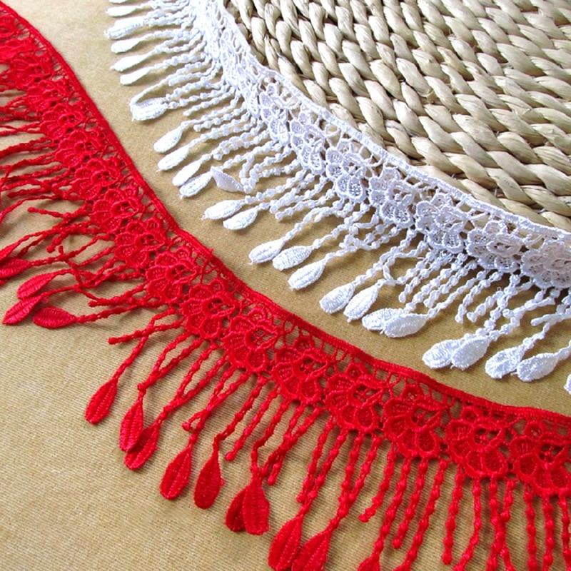 5 yardas 10 cm de ancho vestido de novia accesorios de encaje adorno de borla suministros de artesanía de bricolaje blanco y rojo cordón de costura adorno de encaje YY701