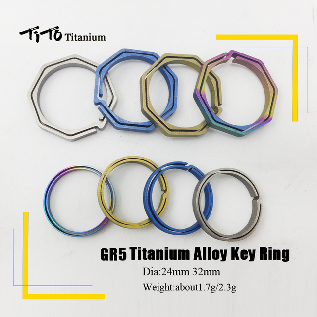 TiTo Titanium Alloy EDC Key Chain outdoor portable Keyring Buckle Key Ring circle octangle camping travel goods CNC 2Pcs/lot