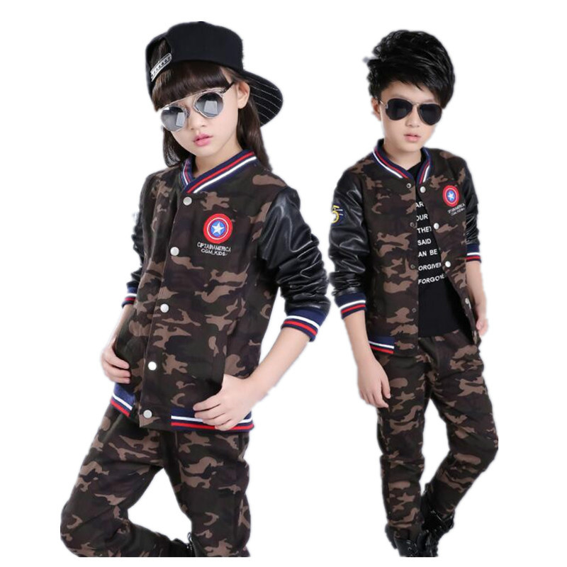 New Spring Autumn Children Suits 2017 Baby Girls Boys Clothes Sets Camouflage Cotton Coat+Pants 2 Pcs Kids Casual Suits штаны для мальчиков 2014 new fashion spring autumn children pants 1 ccc325 casual camouflage trousers for boys sports