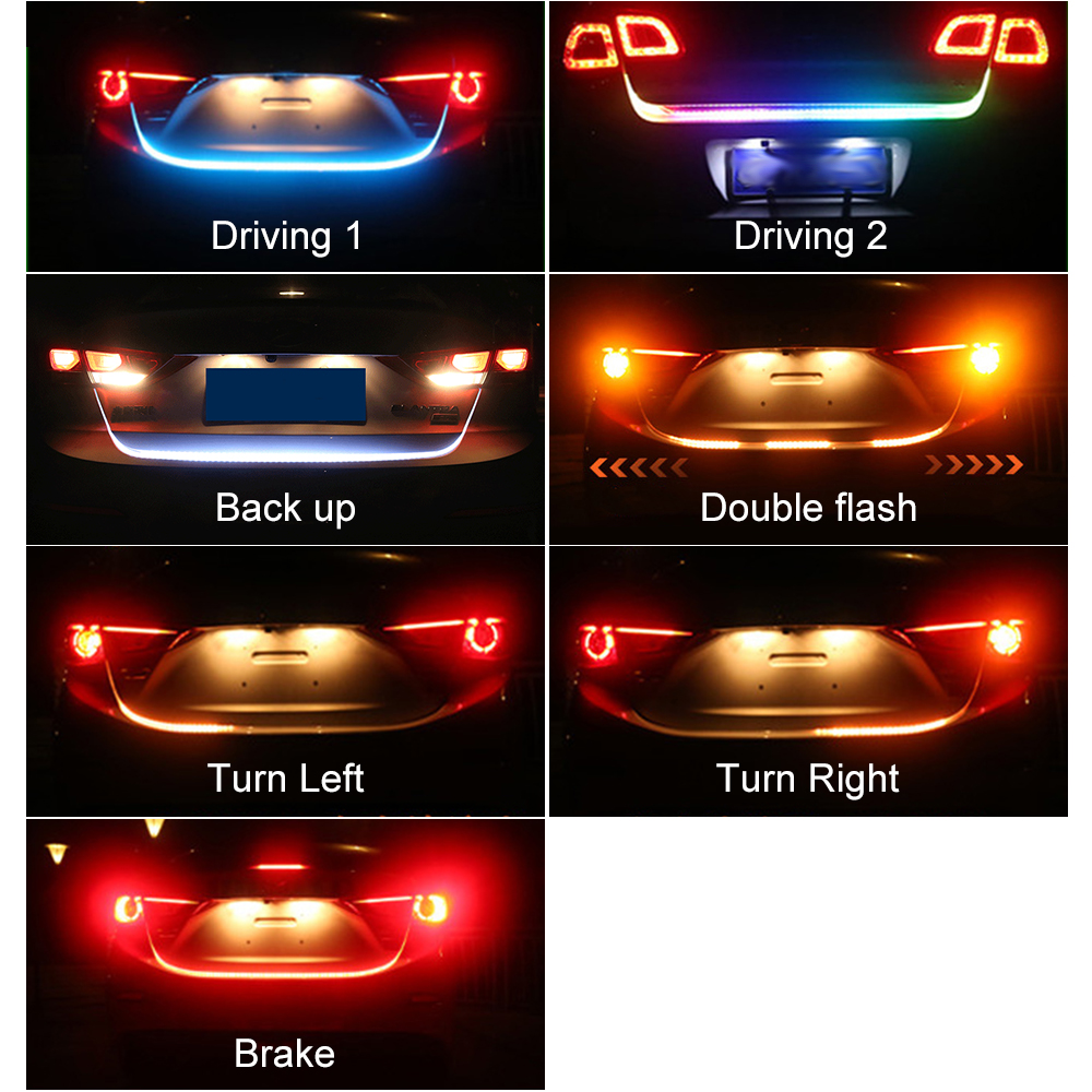 Car Styling RGB Undercarriage Floating Led trunk strip Light Luggage Compartment Lights Dynamic Streamer Turn Signal LED blue red white yellow led strip tail streamer brake turn signal warning lighting car styling dynamic streamer drl tail lights