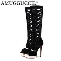 2019 New Plus Big Size 33 40 Black Zip Fashion Knee High Heel Platform Spring Summer Ladies Shoes Female Women Boots X1698