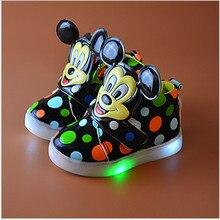 Lampu LED anak-anak sepatu kasual Kartun Mickey gadis tenis sneakers anak-anak menyala sepatu sol bercahaya Skidproof chaussure enfa