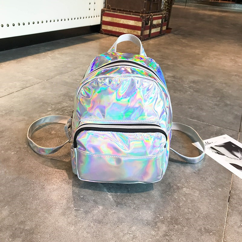 2019 Silver Pink Fashion Laser Backpack Women Girls Bag Holographic Small Size Backpack For Teenage Girls