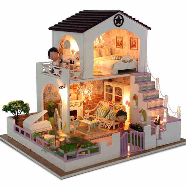 Diy doll house wooden dollhouses villa model include furniture led diy doll house wooden dollhouses villa model include furniture led miniature 3d puzzle dollhouse creative birthday solutioingenieria Gallery