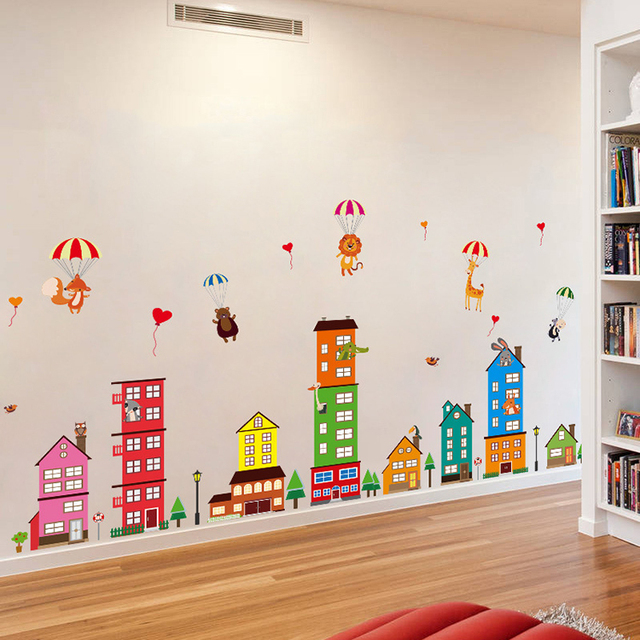 Cityscape Houses Xl Wall Stickers Decals Kids Room Decor Nursery School Diy  Removable