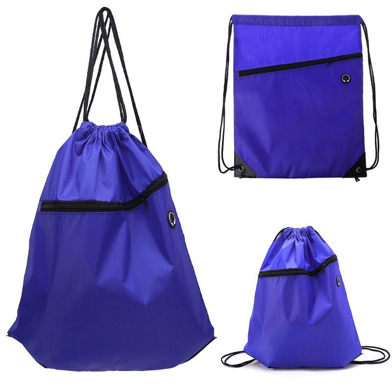 String Drawstring Backpack Cinch Sack Tote Zip Bag Polyester School Sports Pack