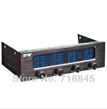 STW 6041 Drive bit 4 channel fan speed controller shut down the fan speed LCD LED white subtitles stw 3 5 inch 4 channel drive bay fan speed temperature controller