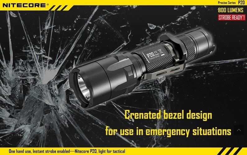 Nitecore P20 stroboscope prêt tactique application de la loi lampe de poche LED pas batterie