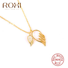 ROXI 2019 New 925 Sterling Silver Necklace Shiny Cubic Zirconia Choker Necklaces & Pendants for Women Angel Wings Gift