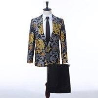 Для мужчин Свадебный костюм для жениха обтягивающий официальный мужской костюм, новый дизайн, винтажный цветочный узор жених смокинг мужск