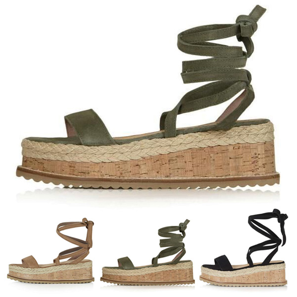 Women Flat Wedge Espadrille Sandals Lace Tie Up Platform Summer Beach Shoes LXX9 plus size leisure beach espadrille wedge heel sandals