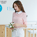 New 2016 Spring Summer Women Style Fashion Style Lone Puff Sleeve Chiffon Peter-pan Collar Floral Appliques Plus Size Tops13I 25