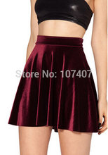 HOT SALE 2017 Women VELVET SKIRT saias SKATER SKIRT Pleated skirt High Waist Sexy saia Plus Size deep blue wine red black(China)