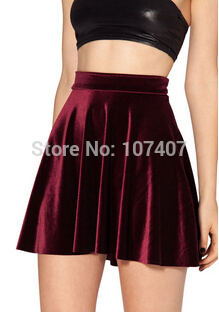 HOT SALE 2017 Women VELVET <font><b>SKIRT</b></font> saias SKATER <font><b>SKIRT</b></font> Pleated <font><b>skirt</b></font> High Waist <font><b>Sexy</b></font> saia <font><b>Plus</b></font> <font><b>Size</b></font> deep blue wine red black image