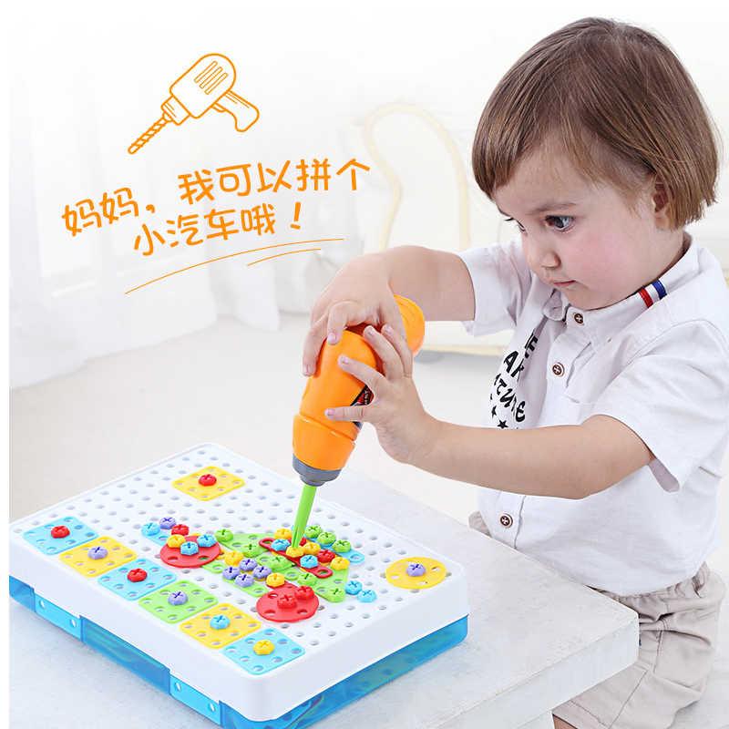 Детские игрушечные дрели головоломки Развивающие игрушки винт DIY Группа игрушки дети набор инструментов пластиковый мальчик головоломки мозаичный узор строительные игрушки