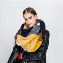Модный Роскошный брендовый зимний шарф для женщин, квадратная строчка, плед, кашемировая основа, вязаные толстые шали и накидка, одеяло, Прямая поставка