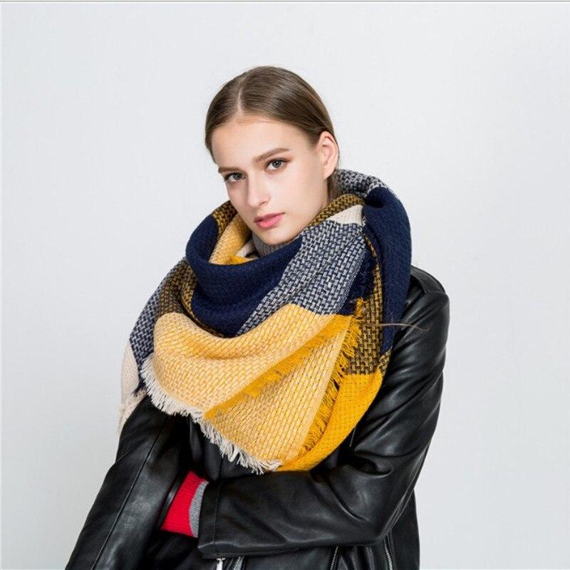2017 Inverno Luxury Brand Sciarpa Per Le Donne Cuciture Plaid Cashmere Scialle Spessa Coperta Calda Sciarpe Stole Regalo Di Natale Dropship